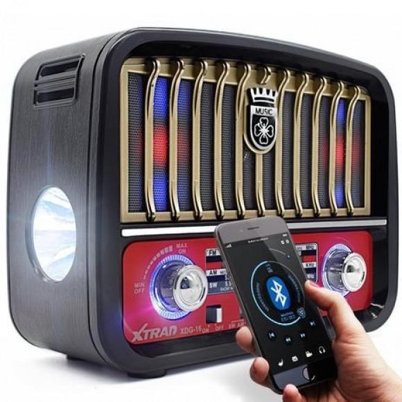 CAIXA DE SOM RETRO RADIO XTRAD XDG-16