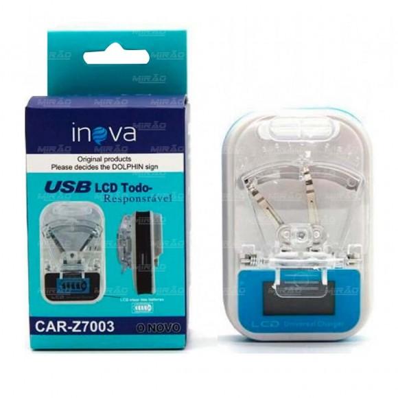 CARREGADOR UNIVERSAL USB COM LCD PARA BATERIAS INOVA CAR-Z7003