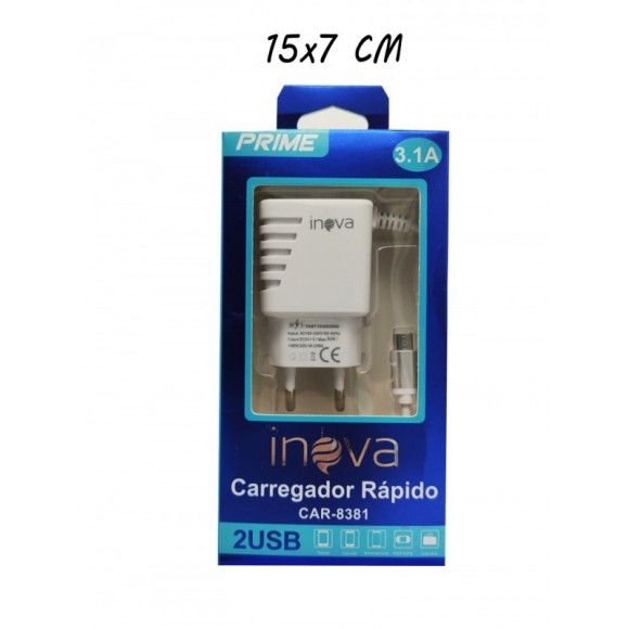 CARREGADOR MICRO USB 3.1A INOVA CAR-8381