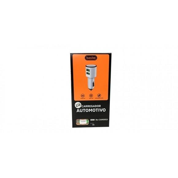 CARREGADOR AUTOMOTIVO COM CABO MICRO USB V8 BASIKE BA-CAR0053