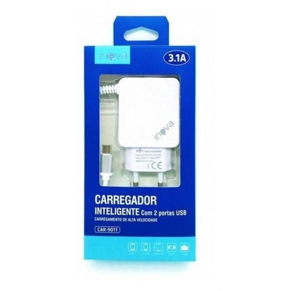 CARREGADOR TIPO C 3.1A COM 2 PORTAS USB INOVA CAR-9011