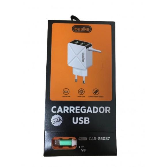 CARREGADOR V8 2.4A BASIKE CAR-G5087