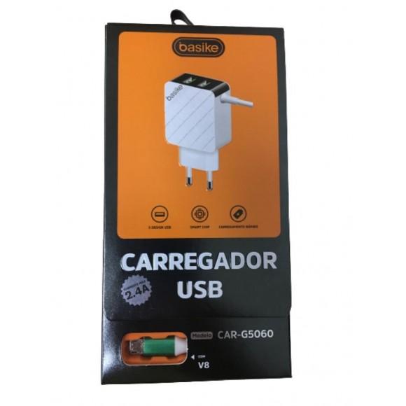 CARREGADOR USB V8 2.4A BASIKE 2 PORTAS USB CAR-G5060
