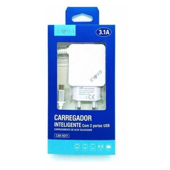 CARREGADOR COM 2 PORTAS USB MICRO USB V8 3.1A INOVA CAR-9011
