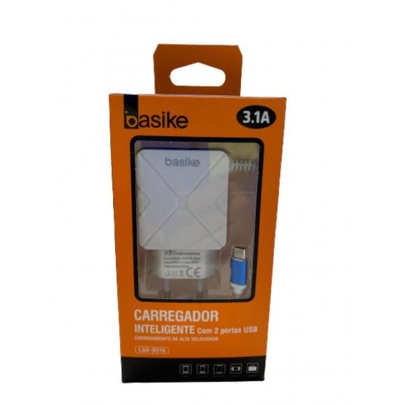 CARREGADOR INTELIGENTE COM 2 PORTAS USB 3.1A BASIKE CAR-9016