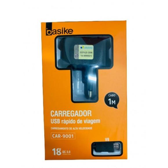 CARREGADOR MICRO USB V8 BASIKE 3.0 CAR-9001