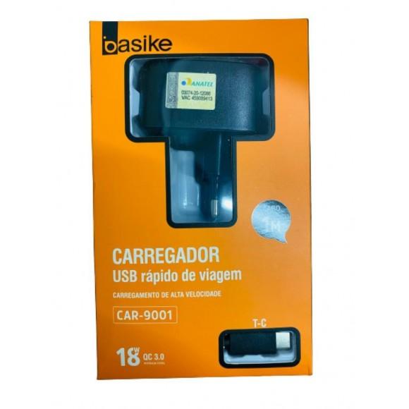 CARREGADOR USB TIPO C BASIKE 3.0 CAR-9001