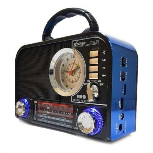 CAIXA DE SOM RETRO RADIO BLUETOOTH AM E FM XDG-30