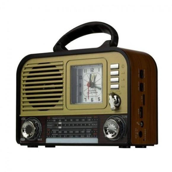 CAIXA DE SOM RETRO RADIO BLUETOOTH AM E FM XDG-31