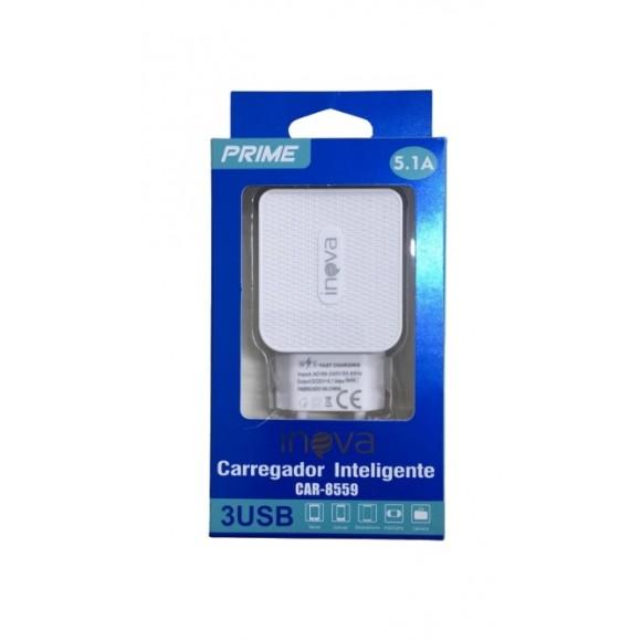 FONTE COM 3 USB INOVA 5.1A CAR-8559