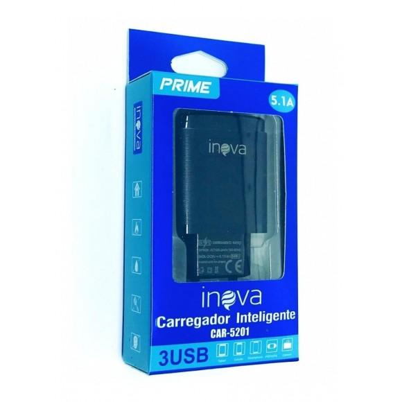 FONTE PARA CELULAR INOVA 3 USB 5.1A CAR-5201