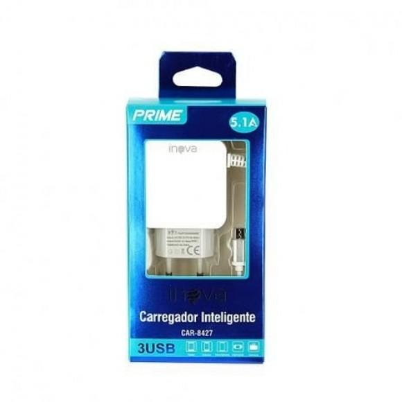 CARREGADOR DE PAREDE V8 INOVA 3 USB 5.1A CAR-8427