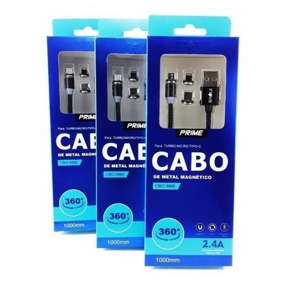 CABO DE DADOS MAGNETICO 3 EM 1 V8 TIPO C E IPHONE INOVA CBO-5866