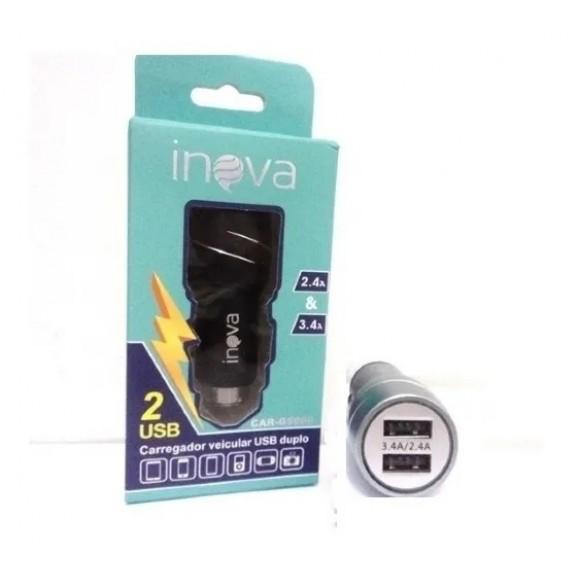 CARREGADOR VEICULAR USB DUPLO 2.4/3.4A INOVA CAR-8591